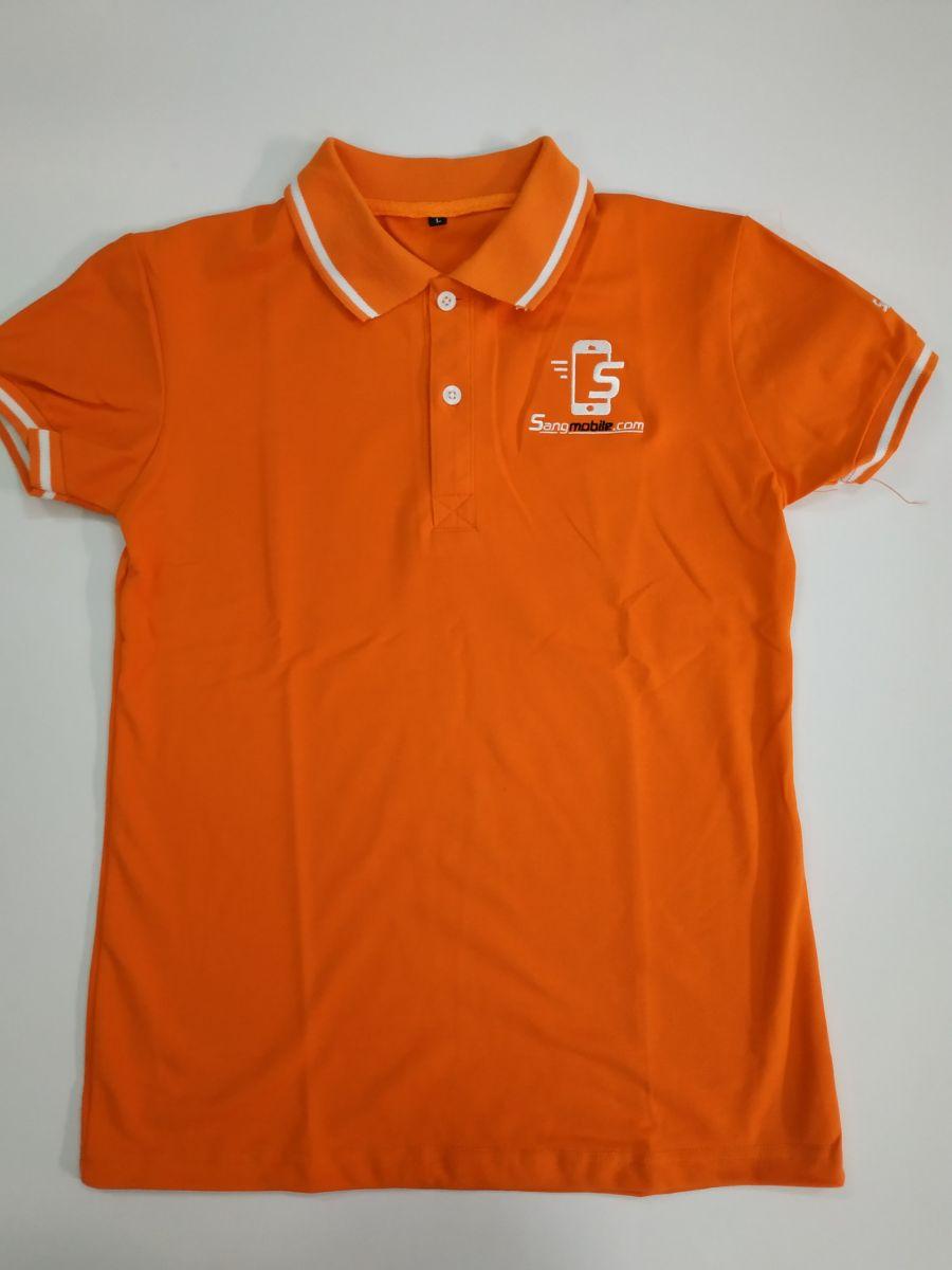 Áo thun cổ trụ có viền màu cam